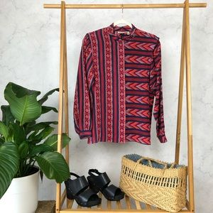 Vintage Southwestern Geometric Silk Button Up Top